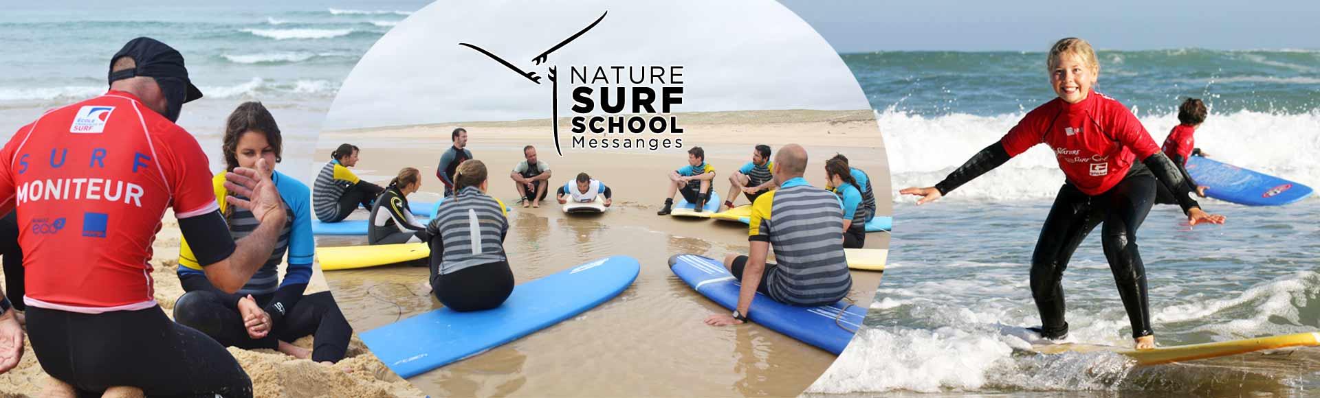 Cours de surf messanges centrale Nature surf School
