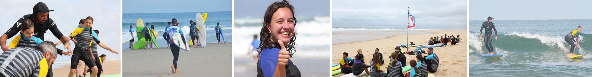 Ecole de surf de messanges entre vieux Boucau et Moliets et près de Souston